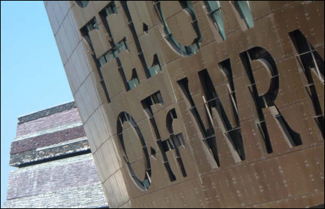 An unusual view of one of Wales' most famous buildings - the Wales Millennium Centre - in Cardiff Bay (David Donaldson).