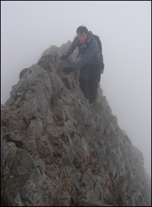 Mike Price on Crib Goch (Wyn Humphries)