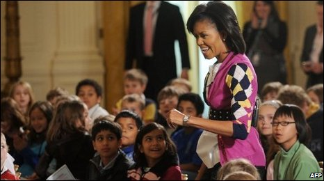 Michelle Obama welcomes children of White House employees on 23 April