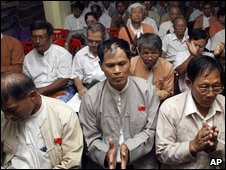 Members of the detained pro-democracy leader Aung San Suu Kyi's National League for Democracy Party participate in the party's meeting at its headquarters Tuesday, April 28, 2009