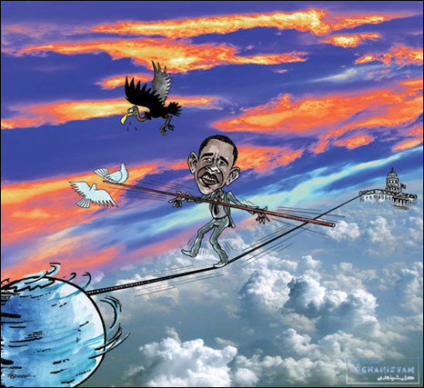 Obama cartoon by Hozhaber Shinwary