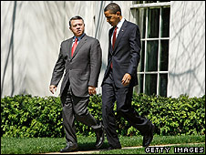 Jordan's King Abdullah and US President Barack Obama at the White House