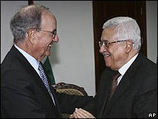 US Middle East envoy George Mitchell meets Palestinian Authority President Mahmoud Abbas  (April 2009)