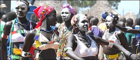 Dancers in South Sudan celebrates the motorbike ambulance