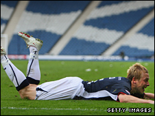 Falkirk's Scott Arfield celebrates his goal in the Scottish Cup semi-final win over Dunfermline