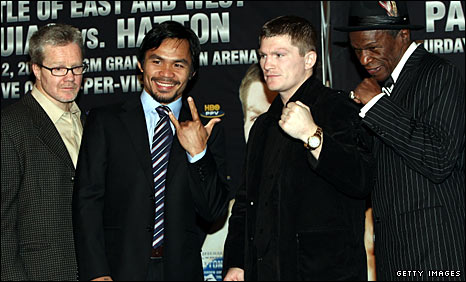 Freddie Roach, Manny Pacquiao, Ricky Hatton and Floyd Mayweather Sr
