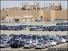 New GM vehicles sit on a lot at the GM plant in Lake Orion, Michigan