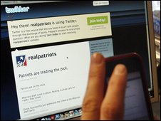 Twitter on a computer screen