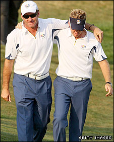Nick Faldo (left) and Ian Poulter