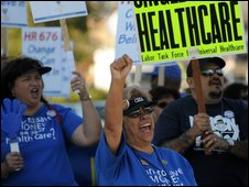 Healthcare activists rally in Los Angeles, April 2009