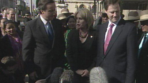 David Cameron, Joanna Lumley and Nick Clegg