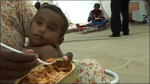 Child in Sri Lankan refugee camp