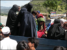 Women fleeing Lower Dir