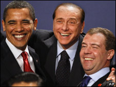 Barack Obama, Silvio Berlusconi and Dmitri Medvedev