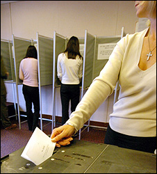 Voting in Hartlepool in a UK election (file pic)