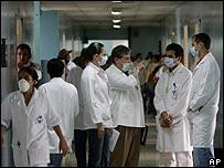 أطباء في أحد مستشفيات  عاصمة نيكاراجوا