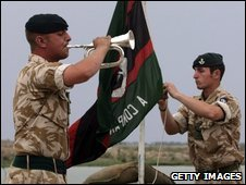 Bugler from 5 Rifles in Iraq