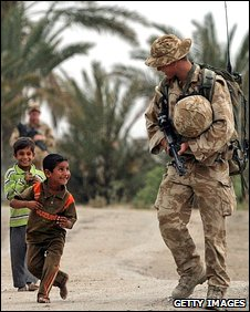 British soldier with children in Basra on 29/4/09