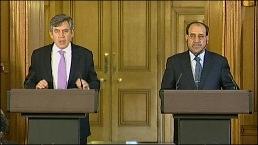 UK Prime Minister Gordon Brown and Iraqi Prime Minister Nouri al-Maliki