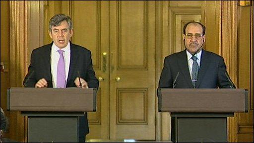 UK Prime Minister Gordon Brown and Iraqi Prime Minister Nouri al-Maliki