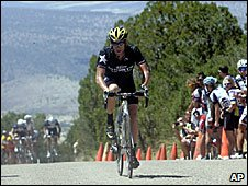 Lance Armstrong riding on stage one of the Tour of the Gila