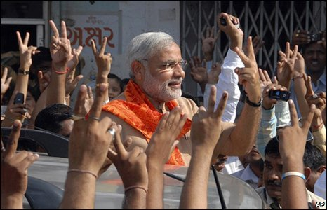 Narendra Modi after voting in Ahmadabad