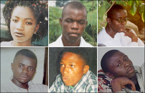 The Apo Six clockwise from left Augustina Arebu, Anthony Arebu, Ekene Mgbe, Paulinus Ogbonna, Ifeanyin Ozor, Chinedu Meniru