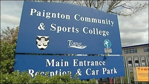 Entrance sign for Paignton Community and Sports College in Devon