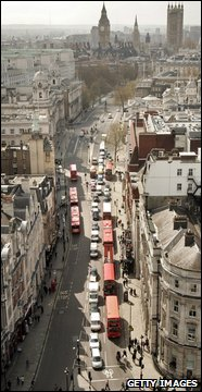 A view looking south from the top of Nelson's column shows the Whitehall leading to Parliament