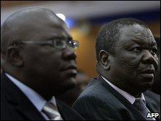 MDC leader Morgan Tsvangirai (Right) and Finance Minister Tendai Biti (Left) at a Sadc summit in Lusaka, Zambia on 12 April 2008