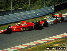 Ayrton Senna barges Alain Prost out of the 1990 Japanese Grand Prix