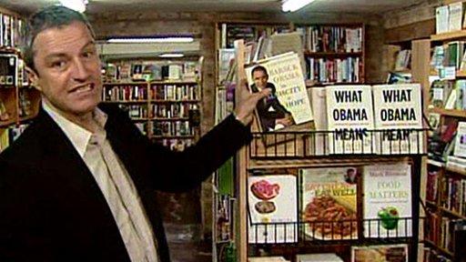 Gavin Esler in Chicago bookshop