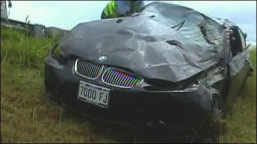 Usain Bolt's wrecked sports car