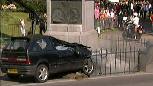 Crashed car at Dutch parade