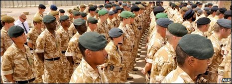 British troops gather before the Basra Memorial Wall to remember those who have died, 30/04