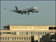 Plane lands at Gatwick Airport