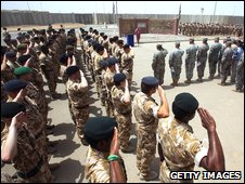 British soldiers at memorial service in Basra