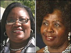 Ida Odinga (L) and Lucy Kibaki (R)