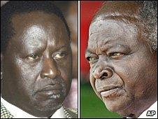 President Mwai Kibaki (R) and Prime Minister Raila Odinga (L)