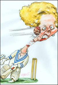 Geoffrey bowls a bouncer