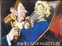 Tony Blair denounced Mrs Thatcher's legacy c/o Steve Bell/Cartoon Museum Collection