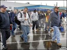 Chryslers workers leave the Warren Truck Assembly Plant in Michigan