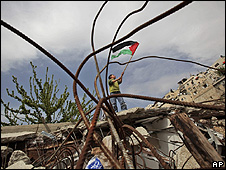 Palestinian boy demonstrates at the site of a demolition in Silwan, East Jerusalem, 11/04/2009