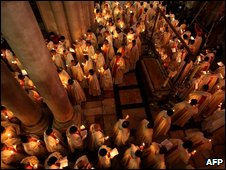 Easter Thursday procession in Church of the Holy Sepulcher