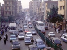 Traffic on the roads of Cairo