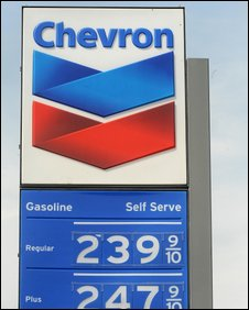 A sign at a Chevron garage