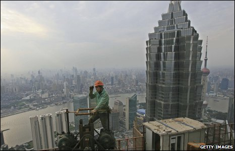 Worker on Shanghai building