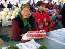 Woman selling parsley in Chisinau market