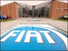 Fiat logo outside the Mirafiori Sales Center, in Turin, northern Italy