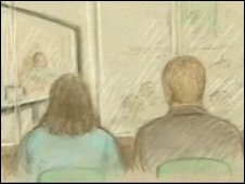 Drawing of courtroom scene